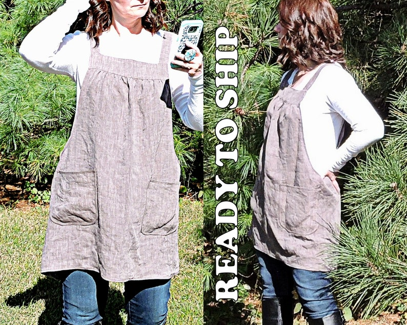 Linen Pinafore with no ties Milk Chocolate color with natural image 0
