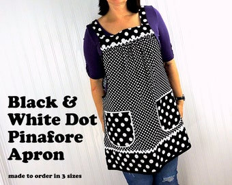 Black and White Dot Pinafore with no ties, relaxed fit smock with pockets, lovely hostess apron for your retro kitchen made to order XS - 5X