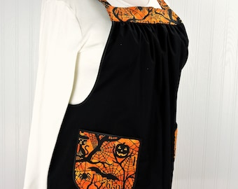 Happy Halloween Pinafore Apron with no ties, relaxed fit smock with pockets, glitzy black and orange Halloween apron, OOAK Ready to Ship