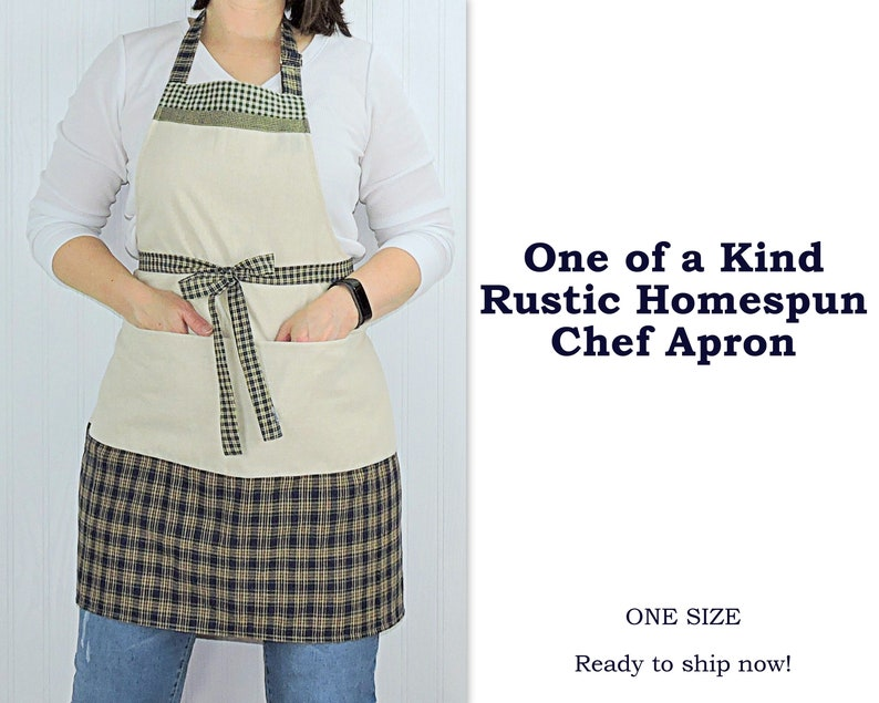 Rustic Homespun Chef Apron with pockets natural pre-shrunk image 0