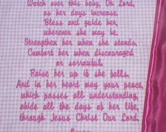 Embroidered Baby Blanket ~  Blessings Prayer for GIRLS~ Customized Baby Keepsake (personalized Christian gift or christening blanket)