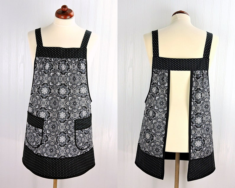 Black Medallion Pinafore Apron with no ties relaxed fit smock image 0