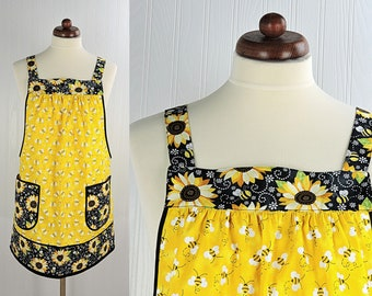 Charming Bees & Sunflowers Pinafore with no ties, relaxed fit smock with pockets, yellow kitchen apron made to order XS -Plus Size
