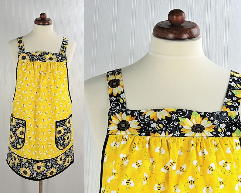 Charming Bees & Sunflowers Pinafore with no ties relaxed fit image 0