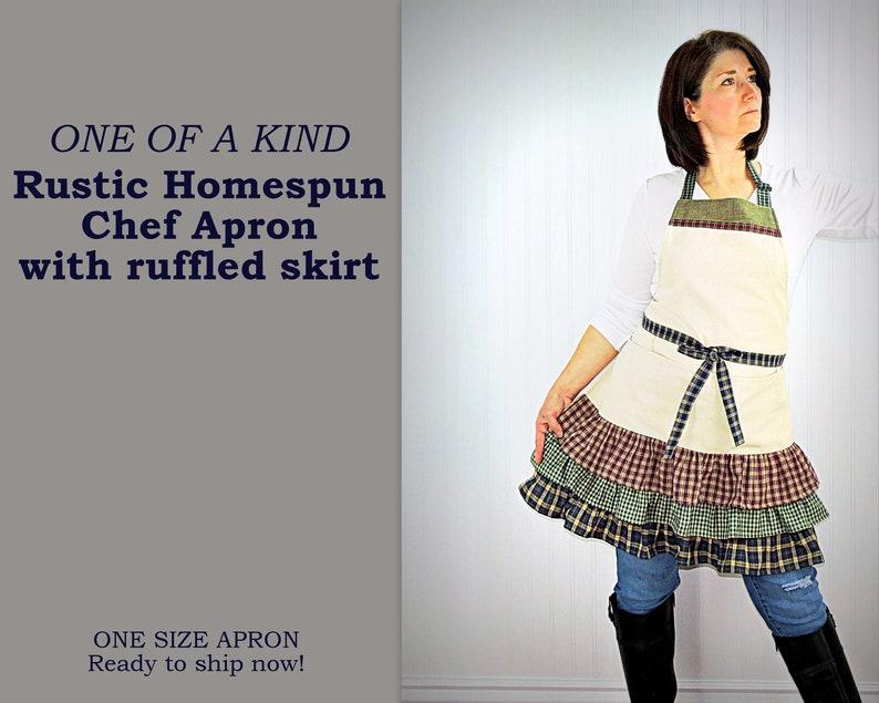 Ruffled Rustic Homespun Chef Apron with pockets natural image 0