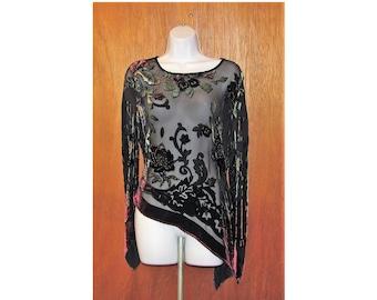 3c2dd427 Vintage, C.C., size L, nylon, burn out velvet, floral, beads, asymmetrical  hem and sleeves, black, green, maroon, silk, rayon, sheer