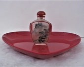 Antique, Vintage, Glass, Snuff Bottle, Chinese, Carved, Red Glass Overlay, Reverse Painted, Snuff Bottle, Cork, Spoon