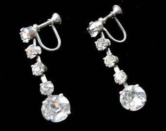 Rhinestone Dangle Earrings Scew Back Style Vintage 1940s