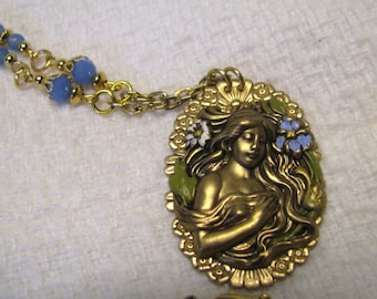 Antique Brass Goddess Cameo Necklace, Periwinkle Blue, Blue Chalcedony Beads, Gold Plated Cameo Necklace