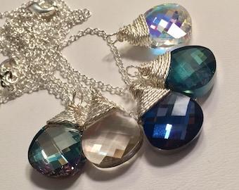 Choice of Swarovski Crystal Pendants.  Light Vitrail, Bermuda Blue, Aquamarine Vitrail, Crystal AB, Silver Lining.