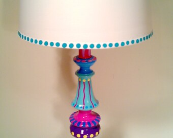 Hand Painted Table Lamp 007- Fun Funky Whimsical and Crazy