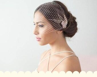 Rose Gold Birdcage Veil, simpple Bridal Veil, Rose Gold Bridal Hair Comb, Bandeau Birdcage Veil, Blusher Bird Cage Veil, Rose Gold Veil