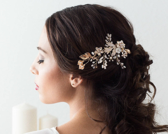Gold Bridal Hair Comb, Wedding Headpiece, Gold Blush Pink Hair Comb, Floral Wedding Hair Comb, Bridal Hair Piece, Wedding Hairpiece