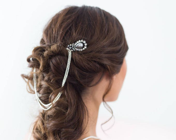 Silver bridal hair chain, Silver Forehead Piece, Crystal Headband, Wedding Draped Hair comb, wedding chain headpiece, crystal forehead chain