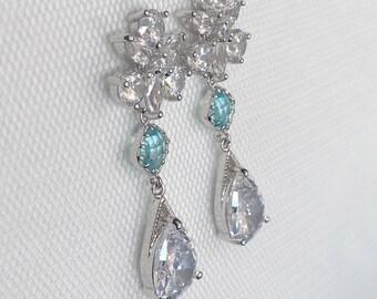 Something blue, Bridal earrings, Blue Earrings, Diamante bridal earrings, Silver wedding jewelry, Teardrop bridal earrings, wedding Earrings