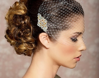 Ivory Birdcage Veil, Elopement Wedding Veil, Gold Crystal Comb, Blusher Bridal Veil, Bridal Comb, Bandeau Birdcage Veil, Gold Bird cage Veil