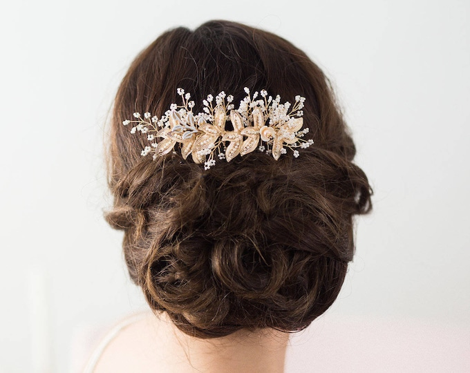 Gold Leaf Hair Comb, Gold Bridal Hair Vine, Bridal Headpiece, Bridal Hair Comb, Flower Hair Comb, Wedding Hairpiece, Gold Leaf Headpiece