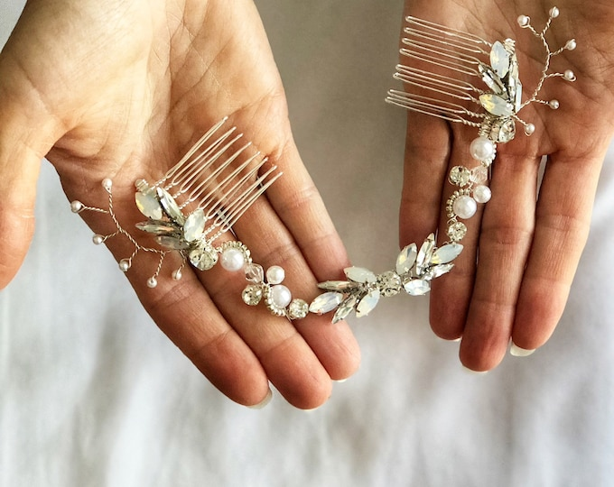 Bridal Head piece, Bridal Hair Swag, Pearl Hair Vine, Wedding Hair Comb, Draped Bridal Headpiece, Opal hair piece, Silver Wedding Hairpiece