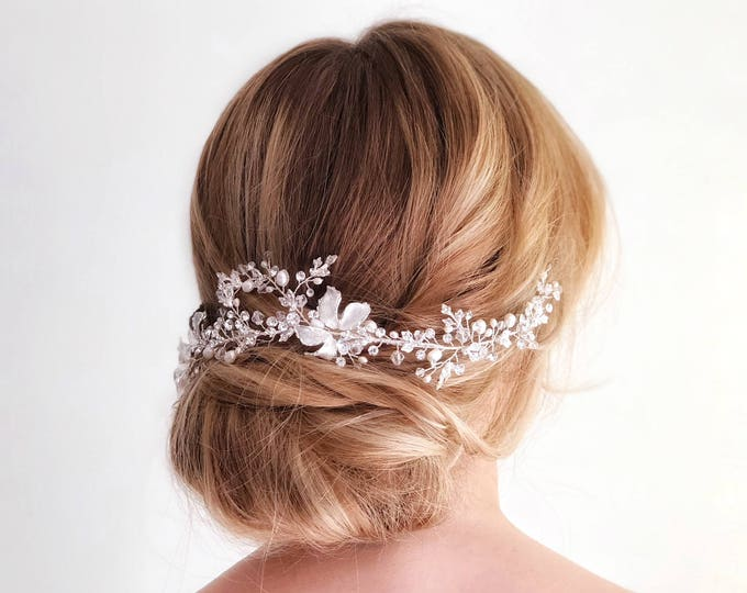 Bridal Hair Vine, Silver leaf hair piece, gold hair vine, bridal hairpiece, wedding hair piece, gold wedding hair vine, wedding accessory