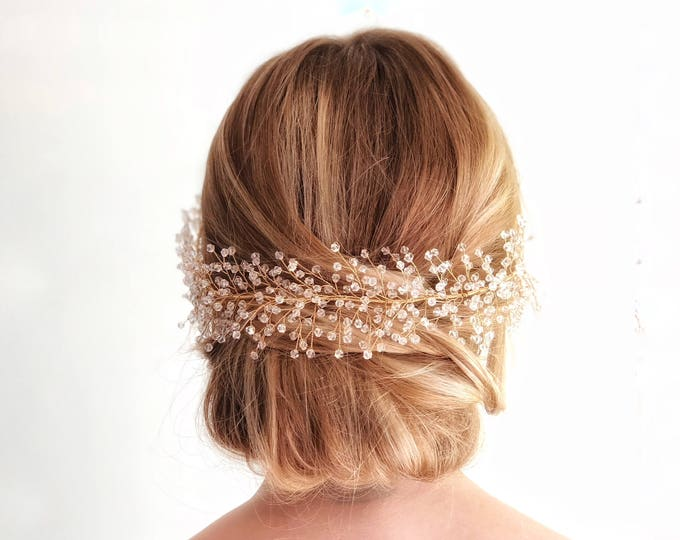 Babies Breath Hair Piece, Crystal Bridal Hair Vine, Bridal Hair wreath, bridal hair piece, wedding hair vine, beaded babies breath headpiece