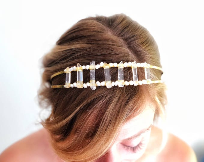 Raw Quartz Headpiece, Bohemian Bride Hairpiece, Raw Crystal Headband, Quartz Hair accessory, modern wedding headband, Boho wedding hair
