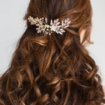 Gold Wedding Hair Piece, Gold Crystal Bridal Hair Comb, Bridal back Headpiece, Vintage style headpiece Gold hair comb gold bridal hair piece