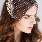Ivory Birdcage Veil, Gold Wedding Veil, Gold Crystal Comb, Blusher Bridal Veil, Gold Bridal Comb, Bandeau Birdcage Veil, Gold Bird cage Veil