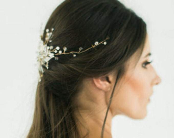 Gold Bridal Headpiece, Wedding Headpiece, Hair Vine, Bridal Hair Piece, Silver Crystal beaded head piece, Gold Wedding Hair Accessories