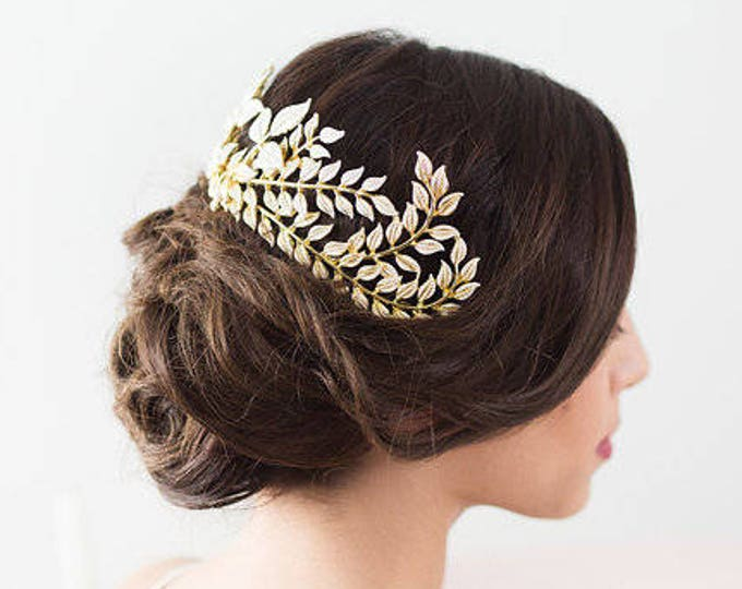 Gold Leaves Headpiece, Gold Leaf Hair Piece, Bridal Hairpiece, Gold Hair Vine, Bridal Hair Piece, Wedding headpiece, Bridal Hair Accessories
