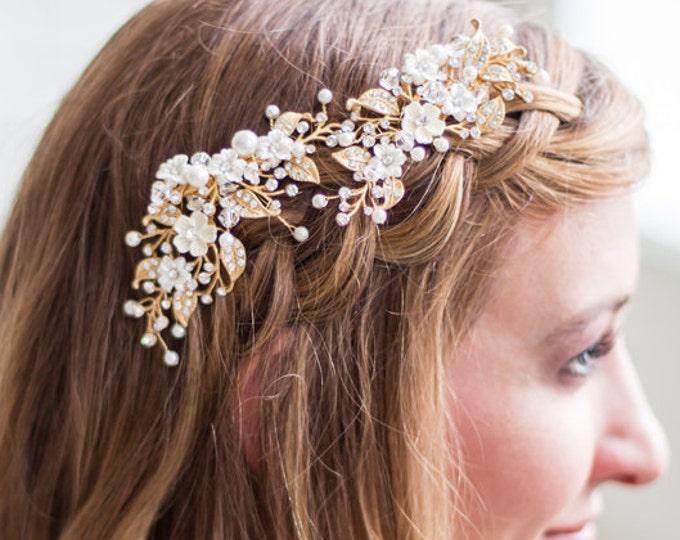 FREE USA SHIPPING, Wedding Hairpiece, Bridal Headpiece, Gold Flower Headpiece, Ivory Flower Hair Vine, Gold Bridal Hair Clip, Wedding Hair