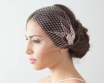 Rose Gold, Rosegold Birdcage Veil, Bridal Veil, Bird Cage Veil, Crystal Birdcage Veil, Bandeau Bird cage veil, rose gold bird cage veil