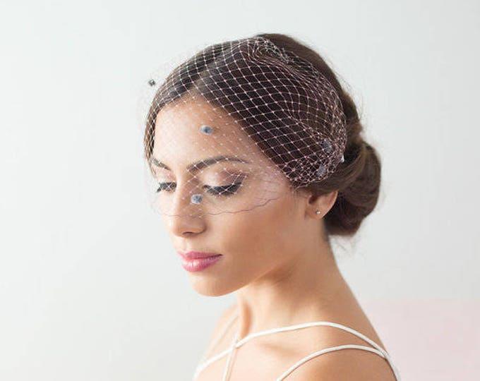 Taupe and Gray Dotted Veil, Bridal Veil, Birdcage Veil, Dotted Birdcage Veil, Chenille Polka Dot veil, Bandeau Birdcage Veil, Wedding veil