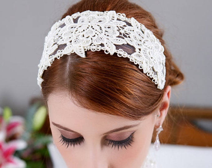 Lace Bridal Cap, Ivory Lace Headband, Ivory Headpiece, Ivory Lace Crown, Veil Headband, Wedding Headpiece, Aubrey Hepburn Wedding Headpiece