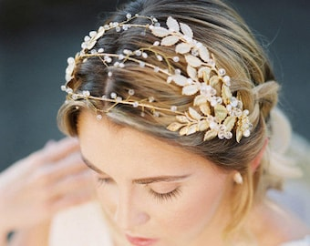 Wedding Head Piece, Bridal Hair piece, Gold wedding crown, gold leaves headpiece, Leaves Crown, wedding headband, gold wedding hair piece