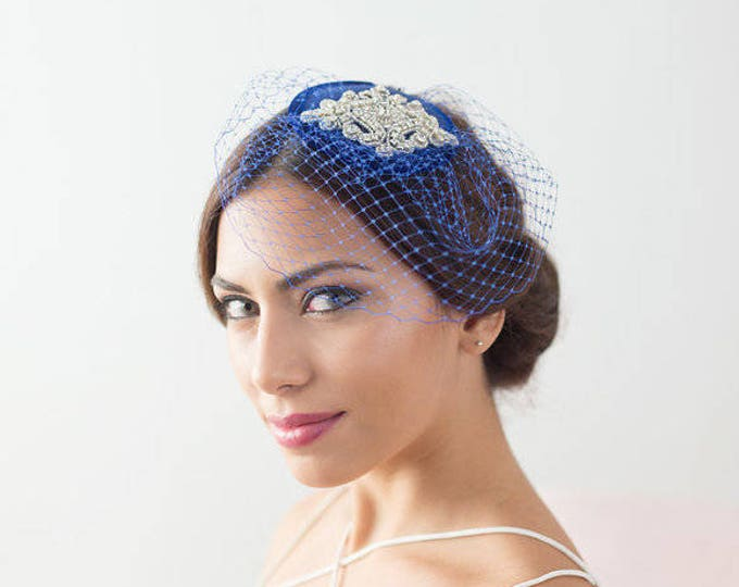 Royal blue vintage style pillbox hat, factinator hat, veil hat, bridal mini hat, bridal fascinator, birdcage veil hat, birdcage veil hat