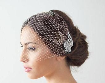 Elopement Birdcage Veil, Cage Bridal Veil Crystal Wedding Veil Bridal Comb / Bandeau Birdcage Veil Blusher veil Detachable Crystal Comb Veil