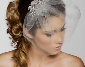 Birdcage Veil, Crystal comb bird cage Veil, Wedding Veil, Rhinestone Comb, Blusher Veil, Tulle Veil, Bridal Veil, Simple elopement veil