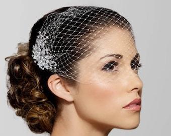 black veil Hairpiece Wedding Birdcage Veil with Rhinestones butterflh fishnet Veil Butterfly Birdcage Veil black Tulle Veil