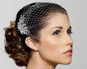 Birdcage Wedding Veil, Black cage veil, Detachable comb Bridal Veil, Silver Crystal Hair Comb, Bandeau Birdcage Veil, Blusher Bird Cage Veil