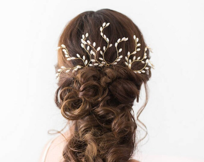 Wedding Hair Accessories, Bridal Headpiece, Pearl Hair pins, Gold Bridal Hair pins, Wedding Headpiece, Bridal Accessories, Gold Hair vine