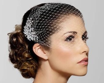Birdcage Veil, black blusher veil, Bridal Veil, Silver Crystal Bridal Comb, Bandeau Birdcage Veil, Rhinestone Blusher veil, Bird Cage Veil