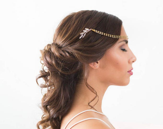 Art Deco Draped Headpiece, Gold bridal hair chain, Gold Forehead Piece, Draped Hair piece, wedding chain headpiece, crystal forehead chain
