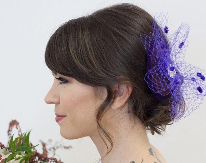 Purple Bridal Hat, Mini Hat, purple birdcage Veil, Wedding Hat, Fascinator, Birdcage Veil hat, Purple Bridal Party Headpiece