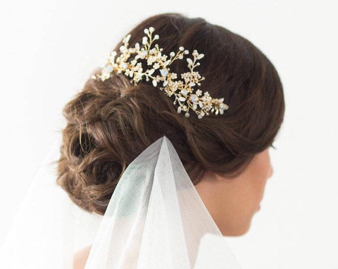 Wedding Hair Comb, Gold Bridal Hairpiece, Wedding Hair Vine, Opal Bridal Headpiece, Flower Hair Comb, Wedding Hairpiece, Bridal Hair Comb