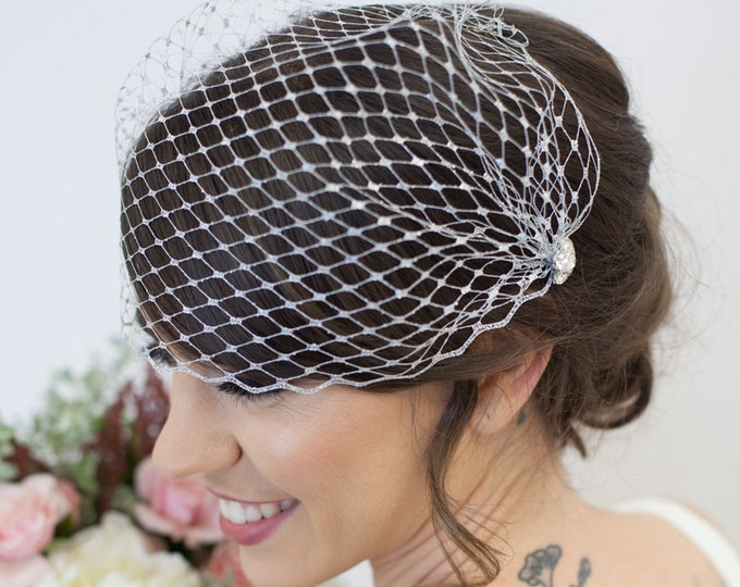 Gold veil, silver veil,  Silver Bandeau Veil, silver Blusher Veil, Birdcage Veil, Wedding Veil, silver cage veil, gold bridal veil