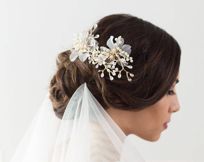 Bridal Hair Comb, Wedding Headpiece, Gold Crystal Wedding Hair Comb, Bridal Hair Piece, Organza Flower Hair Comb, Gold Wedding Comb