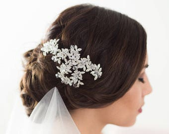 Wedding Hair Accessories, Bridal Headpiece, Silver Crystal Headpiece, Hair Vine, Flower Headpiece, Bridal Accessories, Crystal Hair Piece