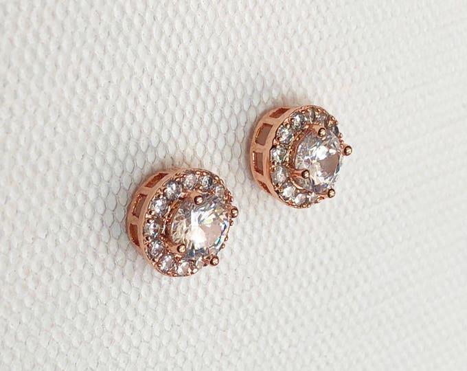 Rose Gold earrings, Small Wedding Earrings, Halo Crystal Stud Earrings, Rosegold earrings, bridesmaid earrings, crystal bridal earrings