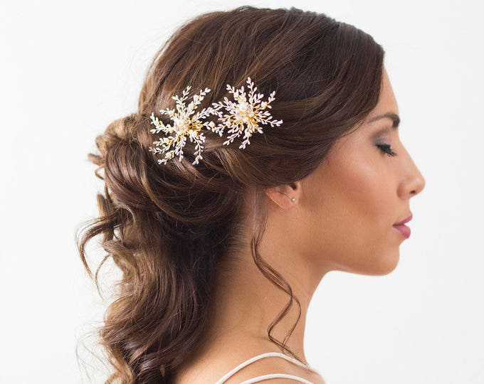 Bridal Hair Accessories, Wedding Hair Clips, Gold Bridal Hairpiece, Snowflake Headpiece, Winter Wedding, Wedding Hairpiece, Flower Headpiece