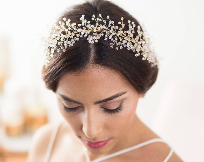 Crystal Bridal Hair Vine, Bridal Hair wreath, bridal hair piece, wedding hair vine, beaded babies breath headpiece, bridal halo, headband